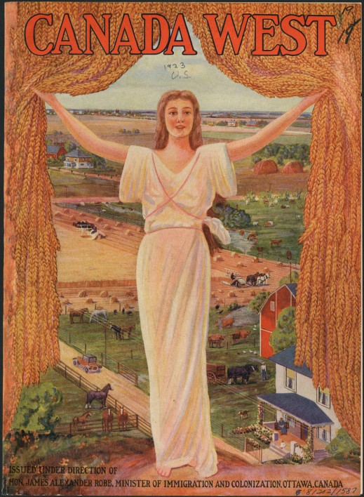 A colour atlas cover showing a blonde woman in a white Grecian-like robe holding open a curtain of golden grain to reveal a busy farming scene complete with green and gold fields, farmhouses, barns and cattle.