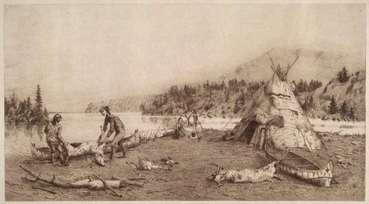 Etching of two men on a beach putting a dead deer in a canoe. Another canoe and a wigwam can be seen at the side in front of trees with a mountain across the river.