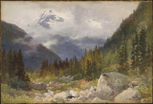 Colourful watercolour scene depicting a green forest in front of cloud-shrouded blue mountains.