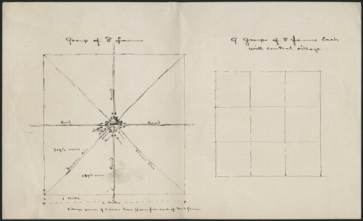 Page with two grids drawn in black ink separated into squares or triangles to represent farms.