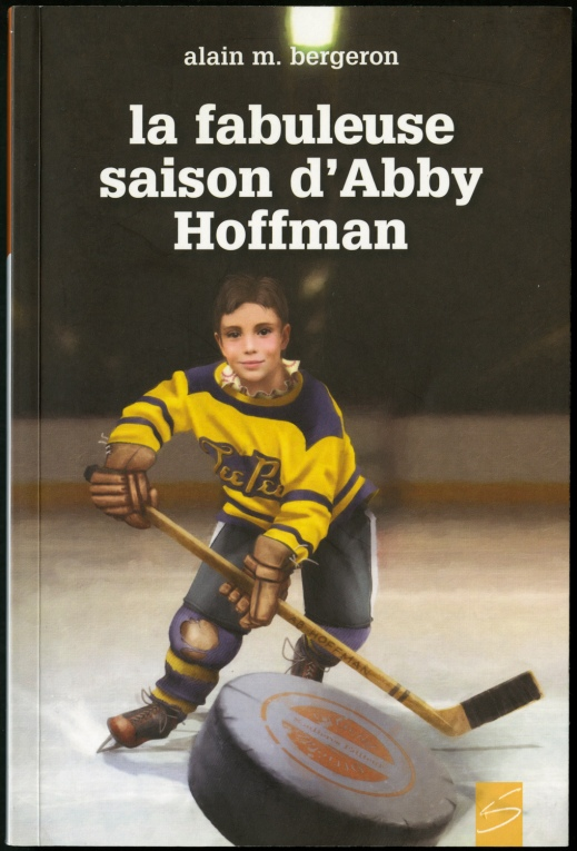 A book cover showing a child playing hockey wearing a yellow-and-black uniform and chasing a hockey puck.