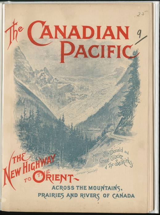 Image of mountain range with a small train leaving a train station, set between the title of the pamphlet at the top and bottom of the page.