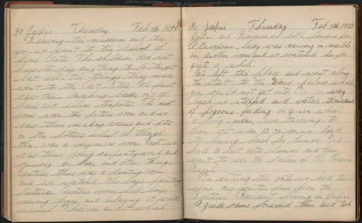 A colour photograph showing two pages of a personal diary.