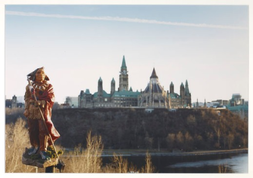 Indigenous figurine set across the river from Parliament Hill.