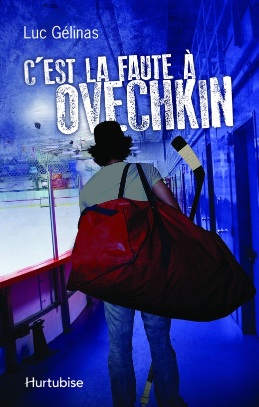 A book cover showing a man walking in a hockey arena carrying a large red duffel bag and a hockey stick.