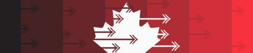 Colour image of white maple leaf on red background with arrows pointing to the right.