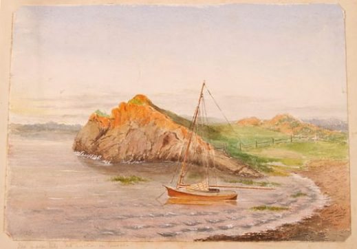A watercolour painting depicts an orange sailboat in the water near a beach. There are slight waves along the shore. Behind the sailboat is a cliff that descends into a valley. The painting uses a palette of orange, brown, green and blue.