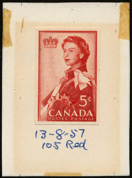 A red stamp featuring Queen Elizabeth II wearing a cape. An engraving of a crown is in the upper left corner.