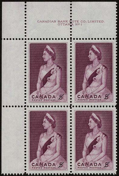 A block of four stamps depicting Queen Elizabeth II seated for an official portrait. Dressed in formal attire, she is wearing a crown and has a sash draped diagonally across one shoulder, clasped at the waist and adorned with jeweled pins.