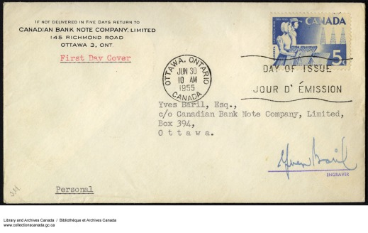 An envelope from the Canadian Bank Note Company, Limited, sent to Yves Baril, Esq., c/o Canadian Bank Note Company, Limited, marked as First Day Cover, stamped with Day of Issue/Jour d'Émission, and signed by the engraver, Yves Baril.