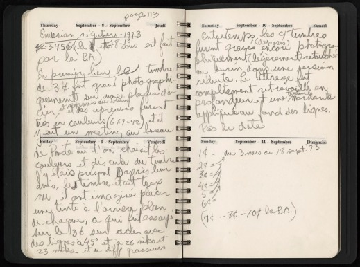 A handwritten journal entry explaining the process for the production of a stamp.