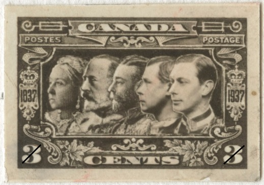 A picture of a stamp showing five generations of British sovereigns.