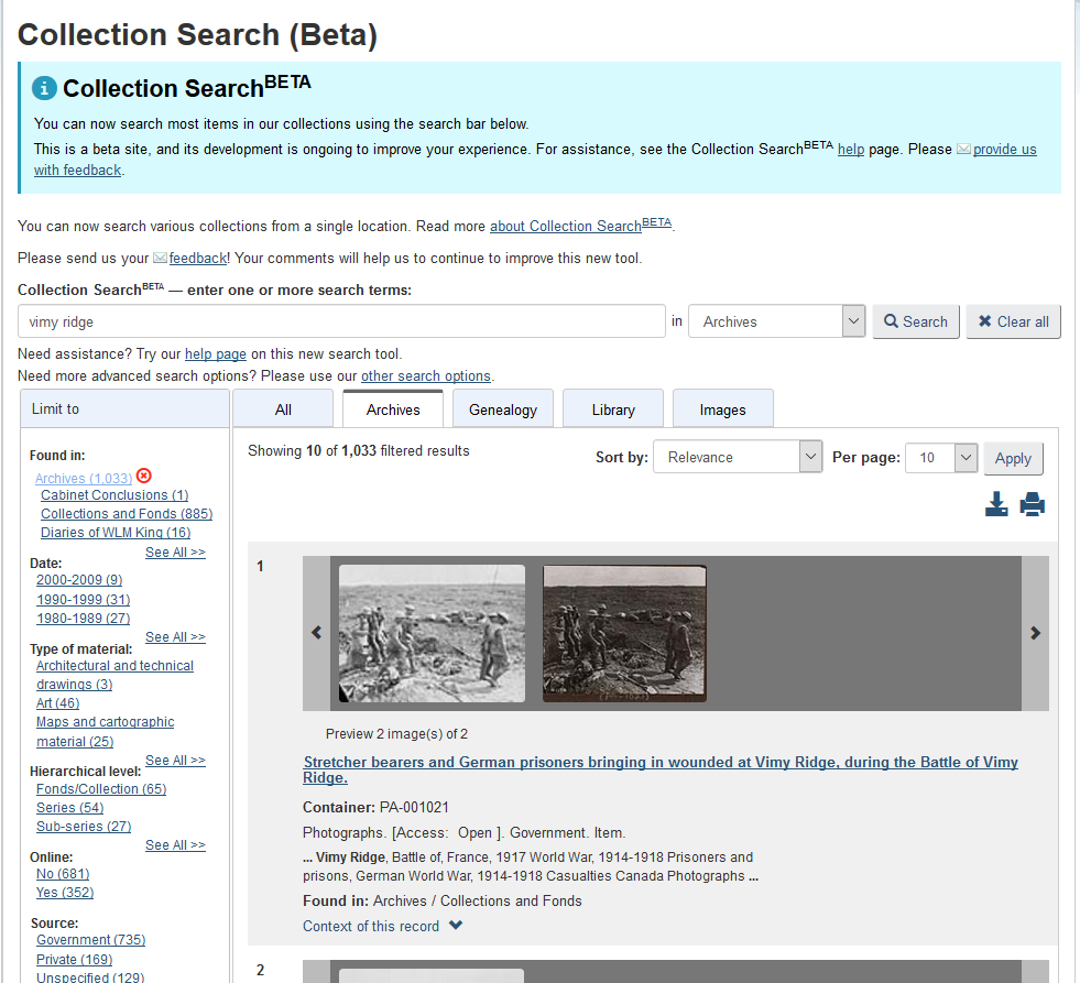 """A screen-capture of the new Collection SearchBETA interface, showing Archives results for the search term """"vimy ridge."""""""