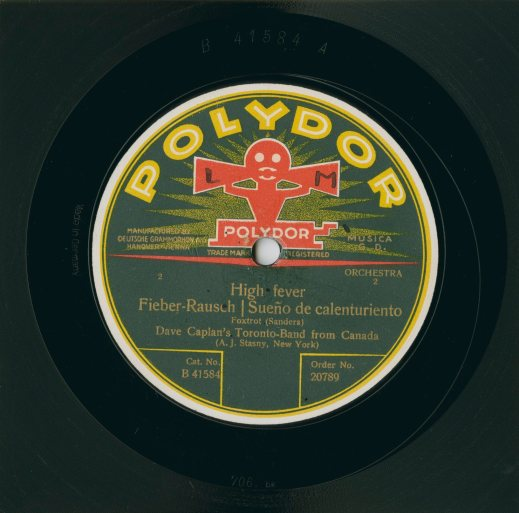 A colour photograph of a record label from Polydor.