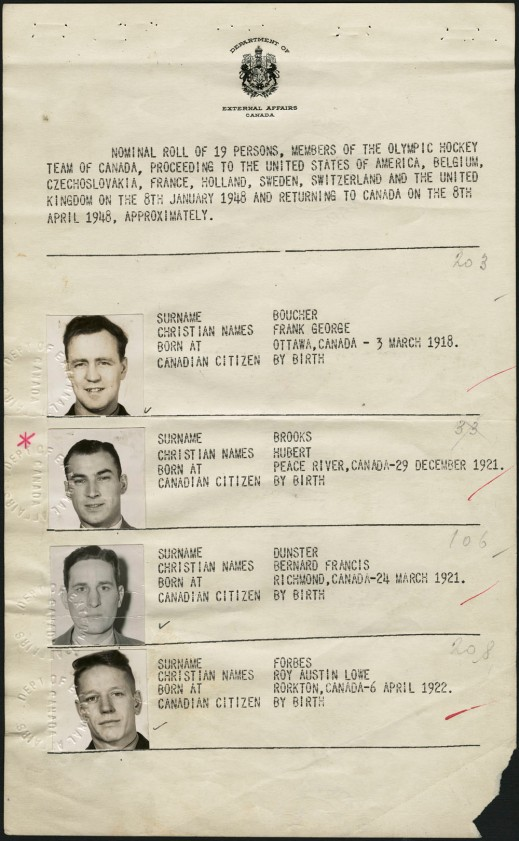 An image of Page 2 of the collective passport for Canada's 1948 Olympic Hockey Team, issued by the Department of External Affairs. This page displays the photographs of, and information about (names, place of birth, date of birth, citizenship), Frank George Boucher, Hubert Brooks, Bernard Francis Dunster and Roy Austin Lowe Forbes.