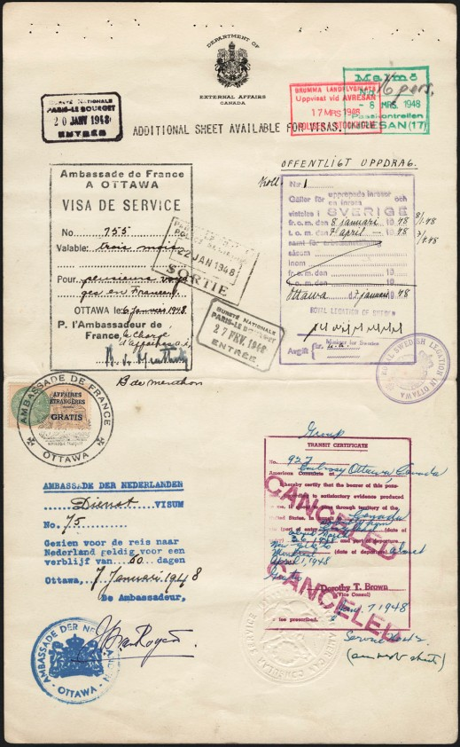 An image of Page 6 of the collective passport for Canada's 1948 Olympic Hockey Team, issued by the Department of External Affairs. This page displays visas, and entry and exit stamps, from France, Sweden, the Netherlands and the United States of America.