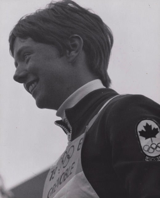 A black-and-white photograph of Nancy Greene, winner of a gold medal in giant slalom.