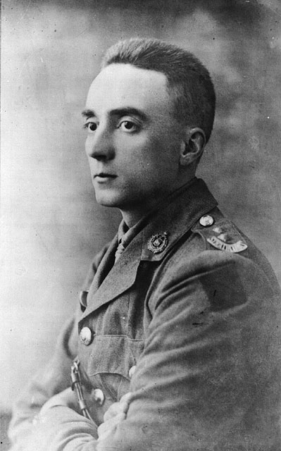 A black-and-white photograph of a soldier taken slightly in profile.