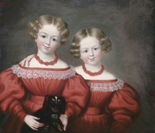 An oil painting of two young girls dressed in identical red dresses with lace around the neckline and red necklaces. One of them holds a small dog.