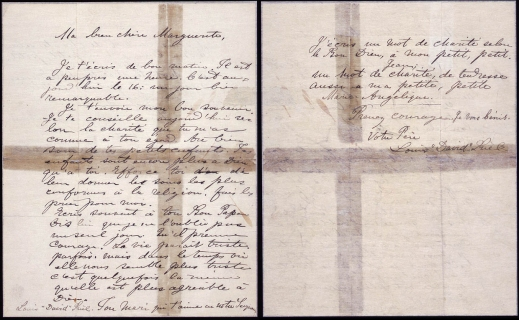 A handwritten letter from Louis Riel to his wife and children.
