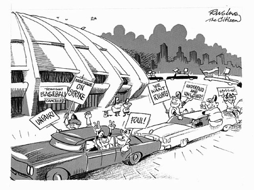 "A black-and-white cartoon showing a line of luxury cars driving in a circle around a baseball stadium. In the cars are characters leaning from the windows and holding signs with slogans, including ""Unfair,"" ""We Want Rights"" and ""Major League On Strike."""