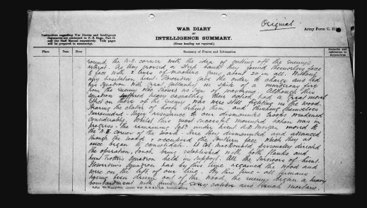 A handwritten description of the day's actions in combat.