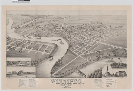 A black-and-white map of Winnipeg, Manitoba, from a bird's-eye perspective. The Red River is central, showing steamboats navigating it and settlements and main roads established along its banks.