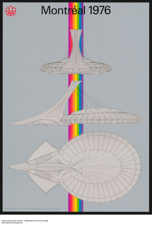 A coloured poster designed for the 1976 Olympic Games. It depicts three different views of the Olympic stadium built for the 1976 Summer Olympics in Montreal.