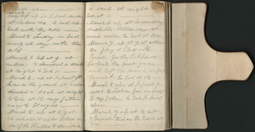 The handwritten diary of Sandford Fleming, open and showing his writings.