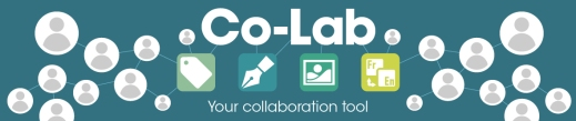 A turquoise banner with the words Co-Lab: Your collaboration tool