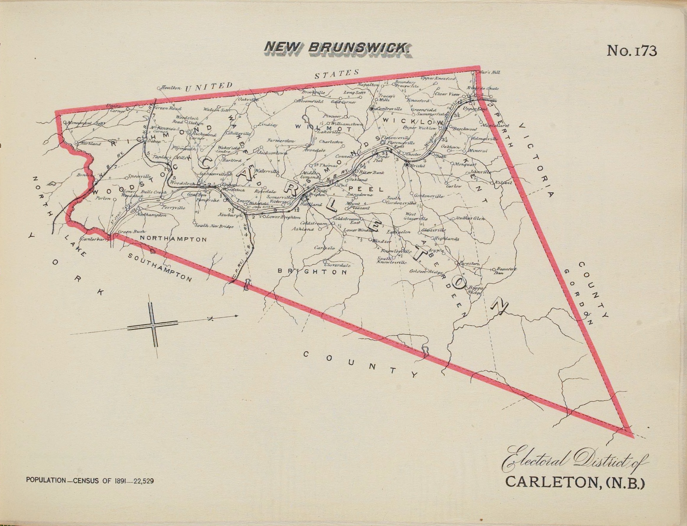 A black-and-white map of the Electoral District of Carleton, New Brunswick, with boundaries indicated in a thick red line.