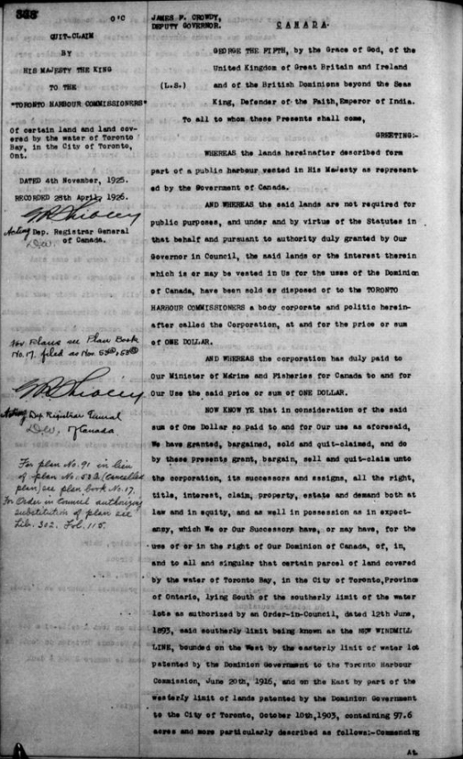A black-and-white typed document dated November 4, 1925, and recorded by the Registrar of Canada on April 28, 1926, in which His Majesty the King cedes the land around the Toronto waterfront to the Toronto Harbour Commissioners.