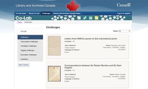 A screenshot of the Co-Lab Challenges page showing what challenges are available.