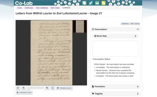 A screenshot of an excerpt of a handwritten letter in a window and on the right-hand side there's a space to transcribe the letter and underneath is a box with the transcription status.