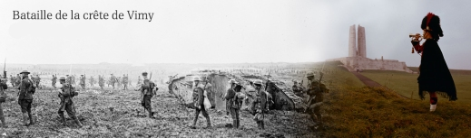 A banner that changes from a black-and-white photograph of a battle scene on the left to a colour photograph of the Vimy Memorial on the right.