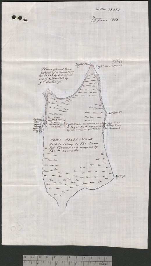 A black-and-white map of Point Pelee Island, Ontario.