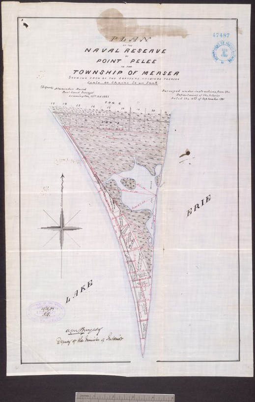 "A black-and-white ""Plan of the Naval Reserve at Point Pelee in the Township of Mersea..."""