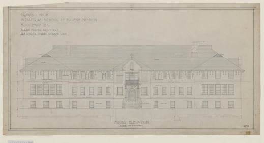 A technical drawing of a three-story building with a high peaked roof. The central front entrance has a peak with a cross above it.