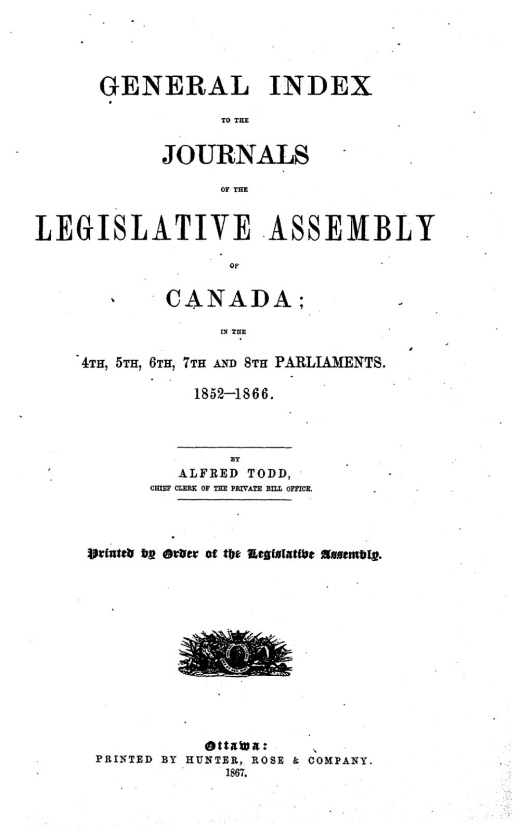 A typed cover page reading: General index to the Journals of the Legislative Assembly of Canada: in the 4th, 5th, 6th, 7th and 8th Parliaments, 1852–1866.
