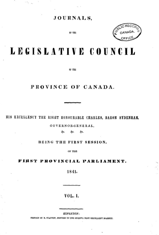 The cover page of the Journals of the Legislative Council of the Province of Canada.