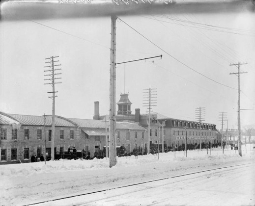 A black-and-white photograph of the E.B. Eddy Company buildings in downtown Hull, Quebec.