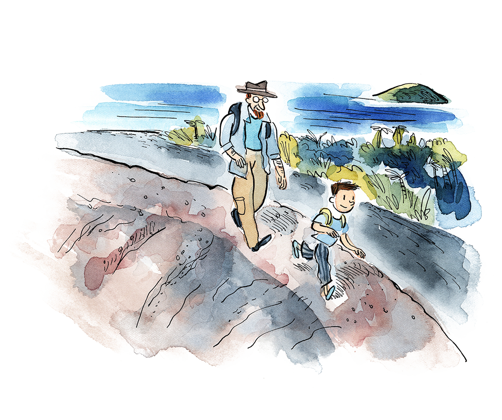 A Watercolour Illustration Of Man And Child With Backpacks Hiking Down An Ocean Pathway