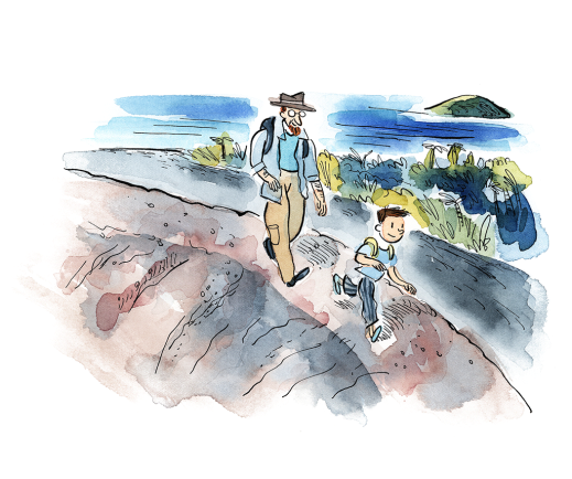 A watercolour illustration of a man and a child with backpacks hiking down an ocean pathway.