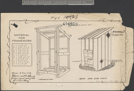 A drawn plan listing the materials needed to build a wooden latrine.