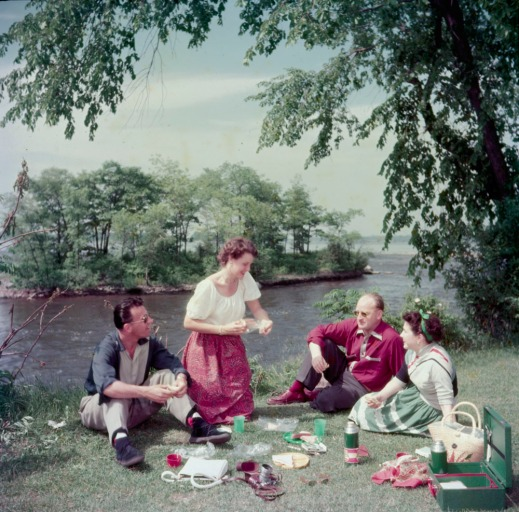 A colour photograph of two women and two men having a picnic in a park on the bank of a river.