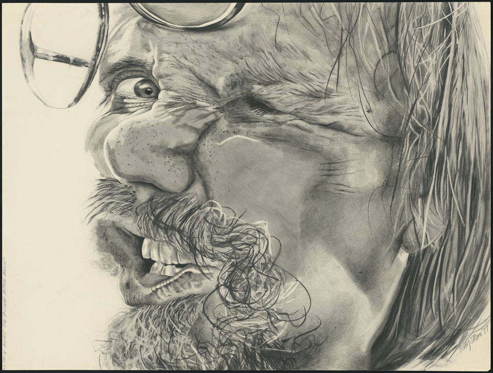 A pencil drawing of a man's face squished up against a piece of glass. Most of the left side of his face is indistinguishable, but his right eye is keenly focused.
