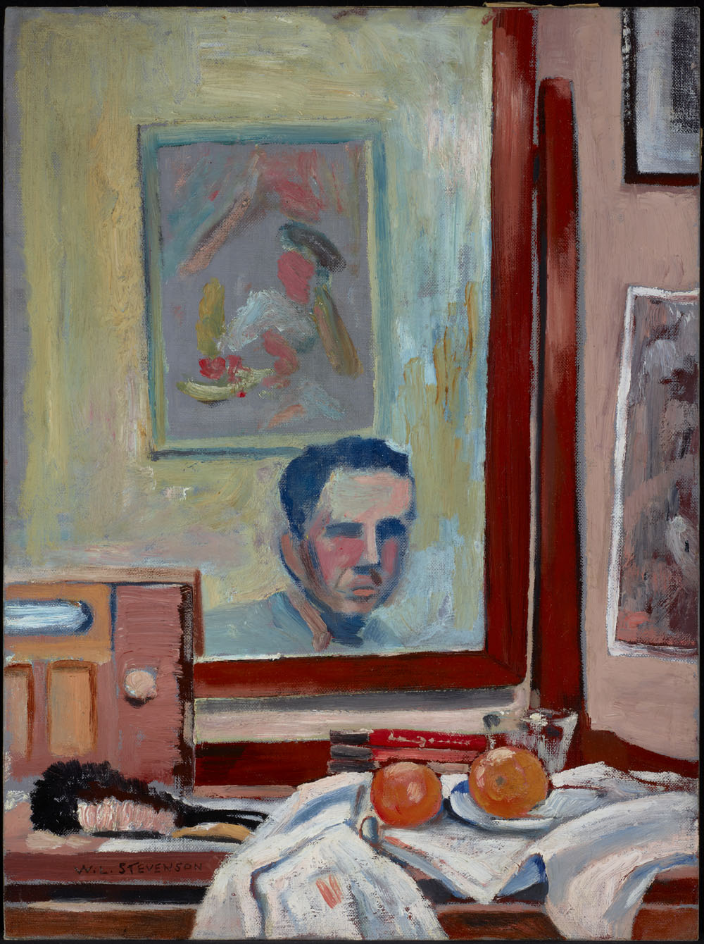 A painting of a mirror and a still-life arrangement on a dressing table with several books, a brush, a radio, and two oranges on a plate on top of a newspaper. The mirror's reflection shows the artist and another painting.