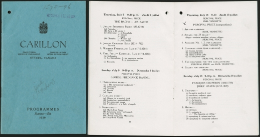A collage of two images, one showing the blue cover of a program and the other the inside of the typed program.