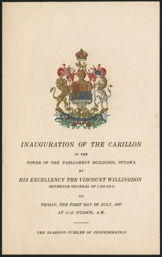 Image from the program for the inauguration of the Peace Tower carillon, July 1, 1927.