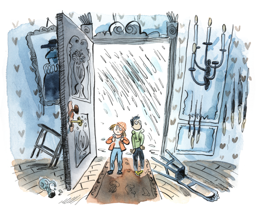 A watercolour illustration of two children escaping the rain by entering an old, spooky abandoned house.